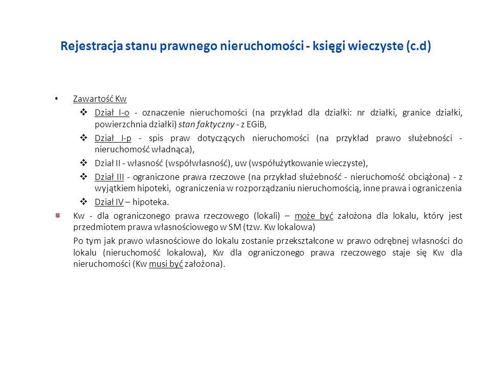 Rejestracja stanu prawnego nieruchomości - księgi wieczyste (c.d) Zawartość Kw Dział I-o - oznaczenie nieruchomości (na przykład dla działki: nr dział