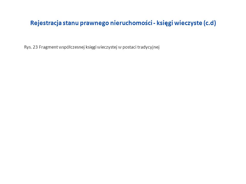 Rejestracja stanu prawnego nieruchomości - księgi wieczyste (c.d) Rys. 23 Fragment współczesnej księgi wieczystej w postaci tradycyjnej