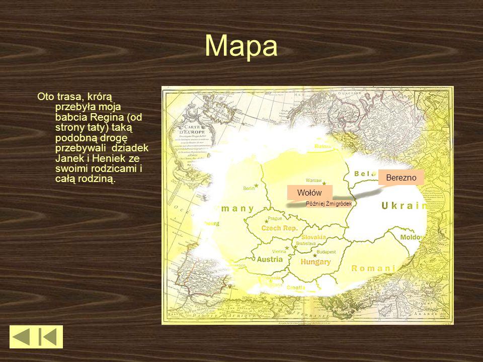 Mapa Oto trasa, krórą przebyła moja babcia Regina (od strony taty) taką podobną drogę przebywali dziadek Janek i Heniek ze swoimi rodzicami i całą rod