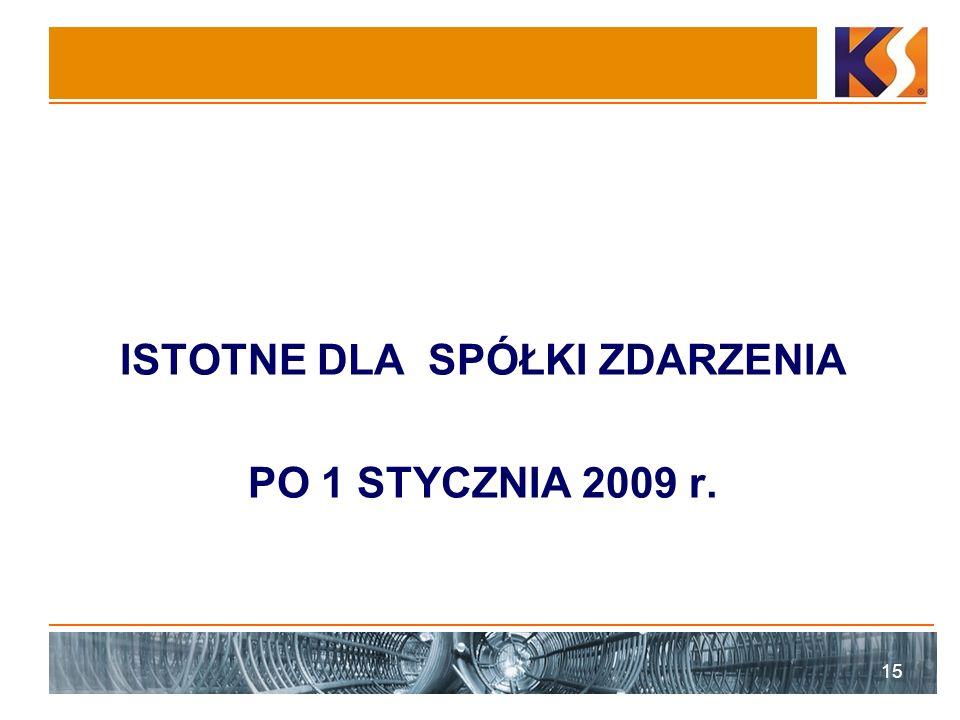 ISTOTNE DLA SPÓŁKI ZDARZENIA PO 1 STYCZNIA 2009 r. 15
