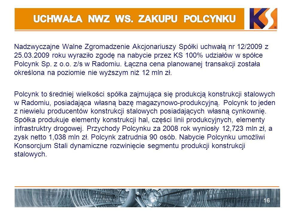 Nadzwyczajne Walne Zgromadzenie Akcjonariuszy Spółki uchwałą nr 12/2009 z 25.03.2009 roku wyraziło zgodę na nabycie przez KS 100% udziałów w spółce Polcynk Sp.
