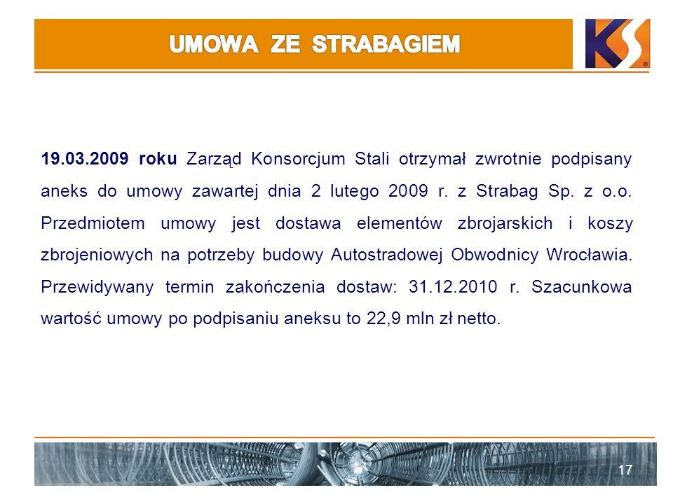 19.03.2009 roku Zarząd Konsorcjum Stali otrzymał zwrotnie podpisany aneks do umowy zawartej dnia 2 lutego 2009 r. z Strabag Sp. z o.o. Przedmiotem umo