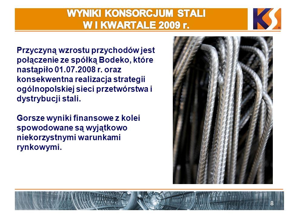 8 Przyczyną wzrostu przychodów jest połączenie ze spółką Bodeko, które nastąpiło 01.07.2008 r. oraz konsekwentna realizacja strategii ogólnopolskiej s