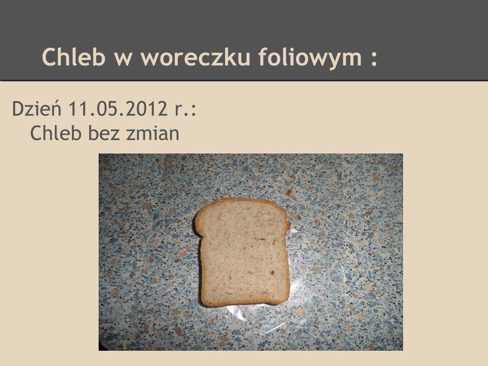 Chleb w woreczku foliowym : Dzień 16.05.2012 r.: Skórka lekko sczerstwiała