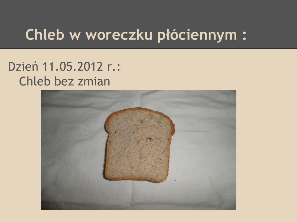 Chleb w woreczku foliowym : Dzień 17.05.2012 r.: Skórka lekko sczerstwiała