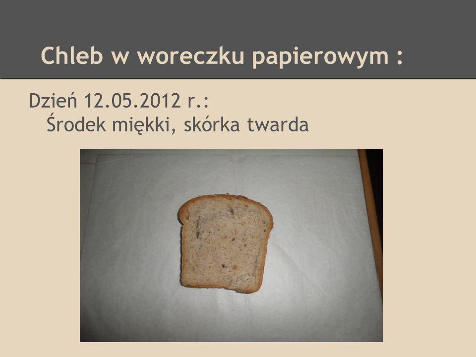 Chleb w woreczku foliowym : Dzień 28.05.2012 r.: Chleb twardy, cały zielony, zapach pleśni