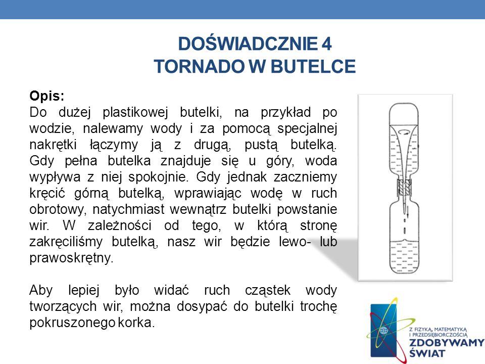 DOŚWIADCZNIE 4 TORNADO W BUTELCE Opis: Do dużej plastikowej butelki, na przykład po wodzie, nalewamy wody i za pomocą specjalnej nakrętki łączymy ją z