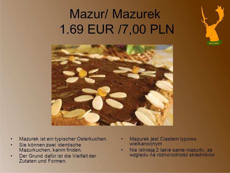Mazur/ Mazurek 1.69 EUR /7,00 PLN Mazurek ist ein typischer Osterkuchen. Sie können zwei identische Mazurkuchen, kanm finden. Der Grund dafür ist die