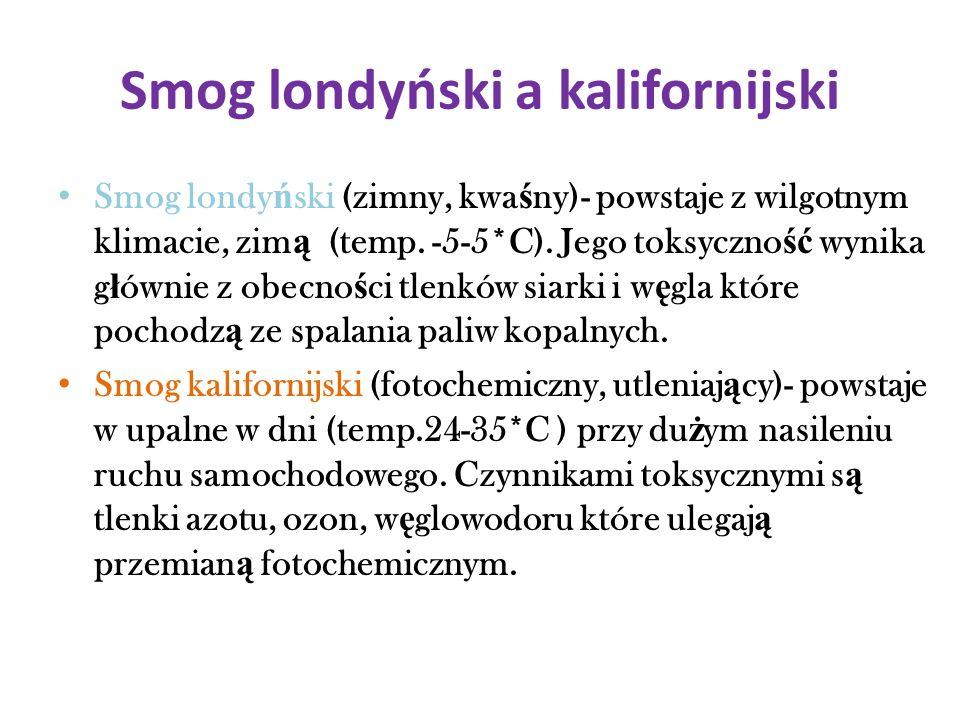 Smog londyński a kalifornijski Smog londy ń ski (zimny, kwa ś ny)- powstaje z wilgotnym klimacie, zim ą (temp. -5-5*C). Jego toksyczno ść wynika g ł ó