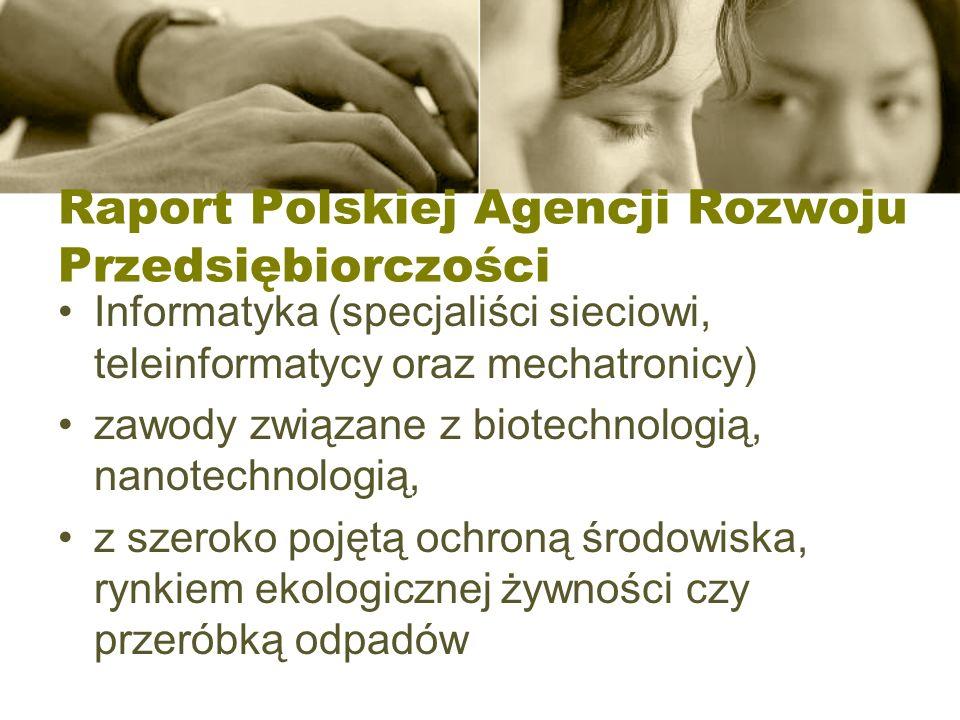 Raport Polskiej Agencji Rozwoju Przedsiębiorczości Informatyka (specjaliści sieciowi, teleinformatycy oraz mechatronicy) zawody związane z biotechnologią, nanotechnologią, z szeroko pojętą ochroną środowiska, rynkiem ekologicznej żywności czy przeróbką odpadów