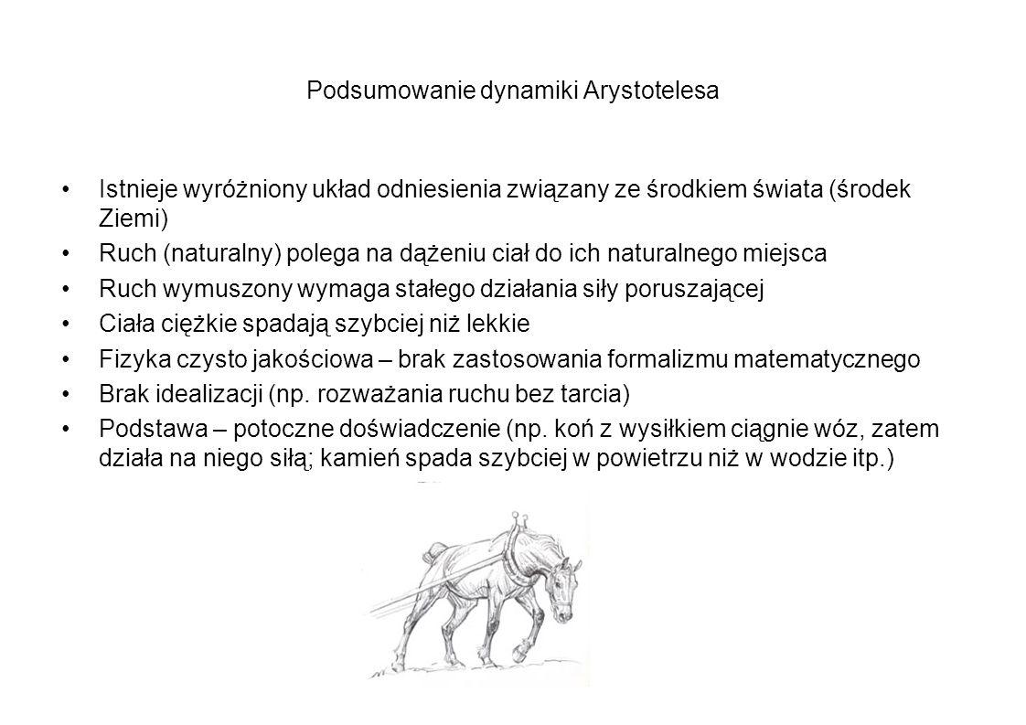 Podsumowanie dynamiki Arystotelesa Istnieje wyróżniony układ odniesienia związany ze środkiem świata (środek Ziemi) Ruch (naturalny) polega na dążeniu