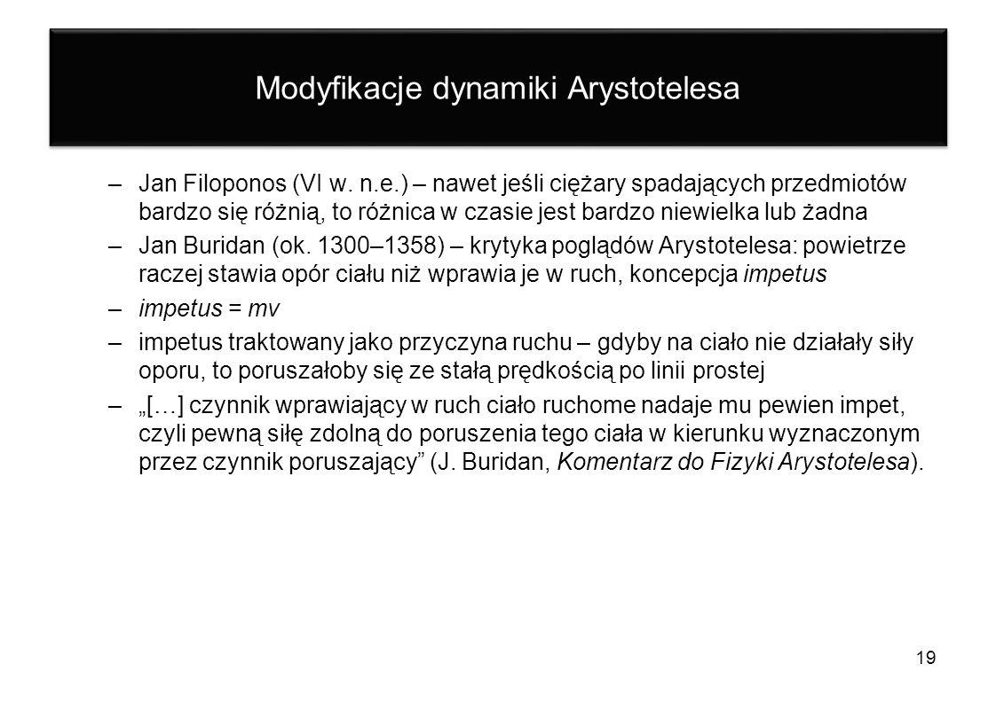 Modyfikacje dynamiki Arystotelesa –Jan Filoponos (VI w. n.e.) – nawet jeśli ciężary spadających przedmiotów bardzo się różnią, to różnica w czasie jes