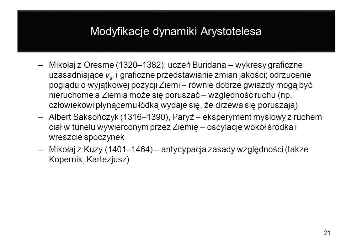 Modyfikacje dynamiki Arystotelesa –Mikołaj z Oresme (1320–1382), uczeń Buridana – wykresy graficzne uzasadniające v śr i graficzne przedstawianie zmia