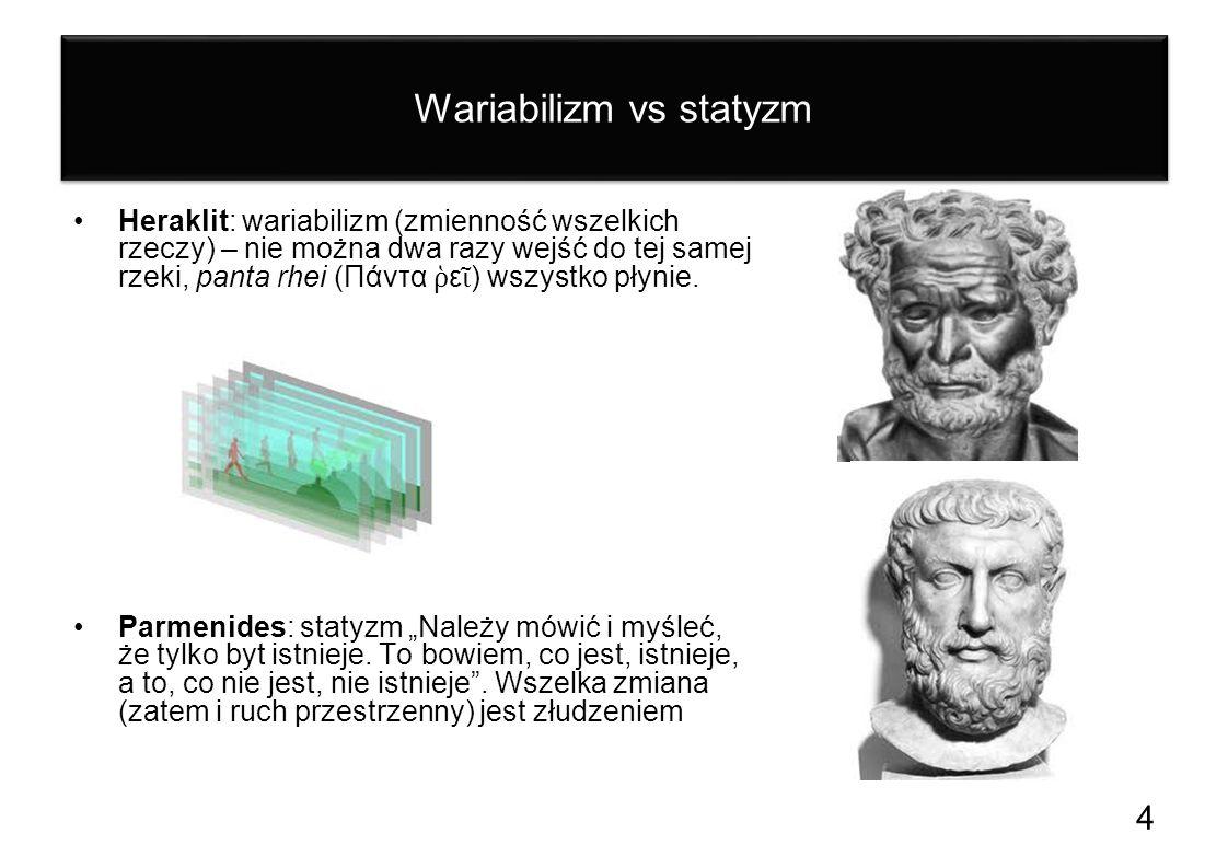 Wariabilizm vs statyzm Heraklit: wariabilizm (zmienność wszelkich rzeczy) – nie można dwa razy wejść do tej samej rzeki, panta rhei (Πάντα ε ) wszystk