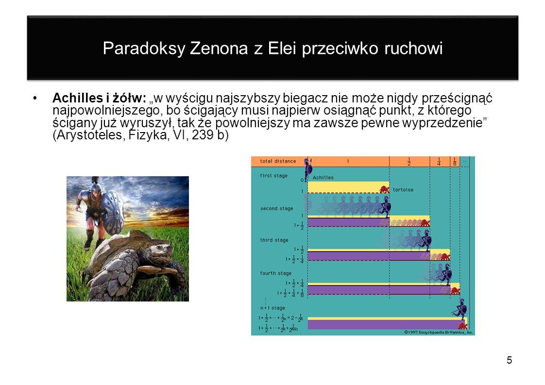 Paradoksy Zenona z Elei przeciwko ruchowi Achilles i żółw: w wyścigu najszybszy biegacz nie może nigdy prześcignąć najpowolniejszego, bo ścigający mus