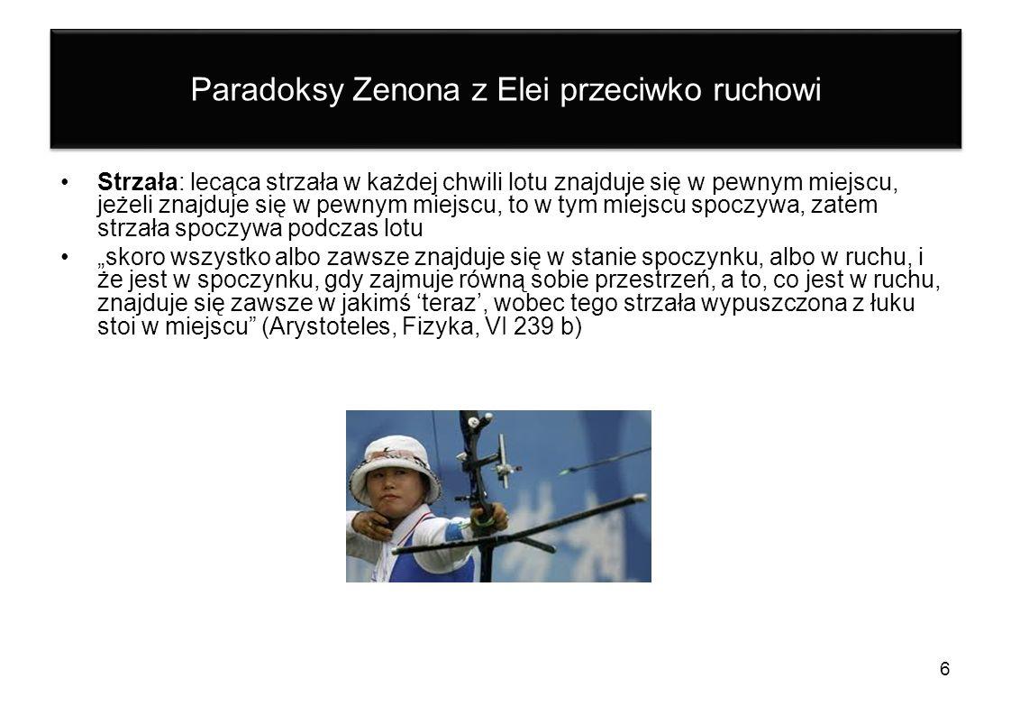 Paradoksy Zenona z Elei przeciwko ruchowi Strzała: lecąca strzała w każdej chwili lotu znajduje się w pewnym miejscu, jeżeli znajduje się w pewnym mie