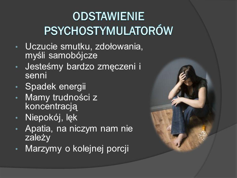 Uczucie smutku, zdołowania, myśli samobójcze Jesteśmy bardzo zmęczeni i senni Spadek energii Mamy trudności z koncentracją Niepokój, lęk Apatia, na ni