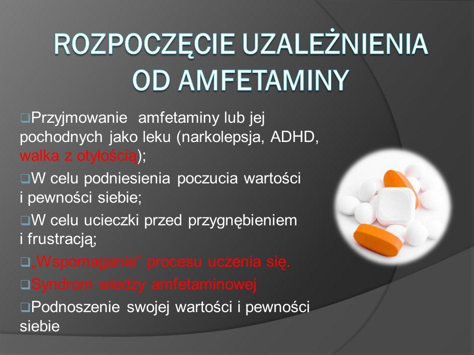 Przyjmowanie amfetaminy lub jej pochodnych jako leku (narkolepsja, ADHD, walka z otyłością); W celu podniesienia poczucia wartości i pewności siebie;