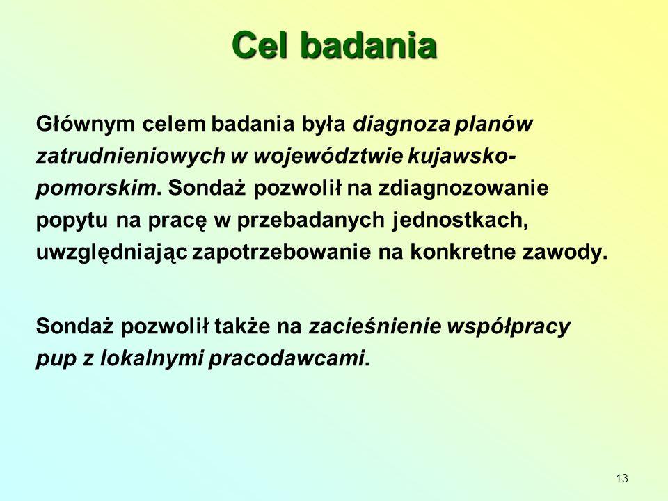 Cel badania Głównym celem badania była diagnoza planów zatrudnieniowych w województwie kujawsko- pomorskim.