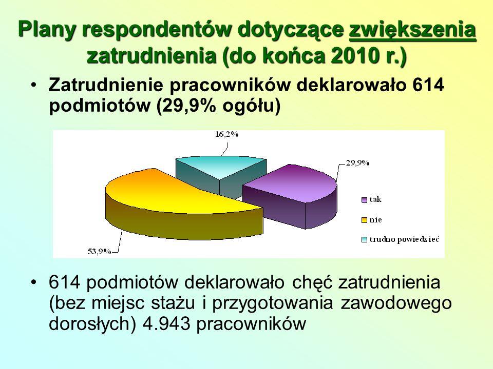 Zatrudnienie pracowników deklarowało 614 podmiotów (29,9% ogółu) 614 podmiotów deklarowało chęć zatrudnienia (bez miejsc stażu i przygotowania zawodowego dorosłych) 4.943 pracowników Plany respondentów dotyczące zwiększenia zatrudnienia (do końca 2010 r.)