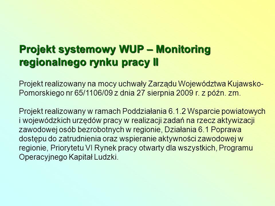 Projekt systemowy WUP – Monitoring regionalnego rynku pracy II Projekt realizowany na mocy uchwały Zarządu Województwa Kujawsko- Pomorskiego nr 65/1106/09 z dnia 27 sierpnia 2009 r.