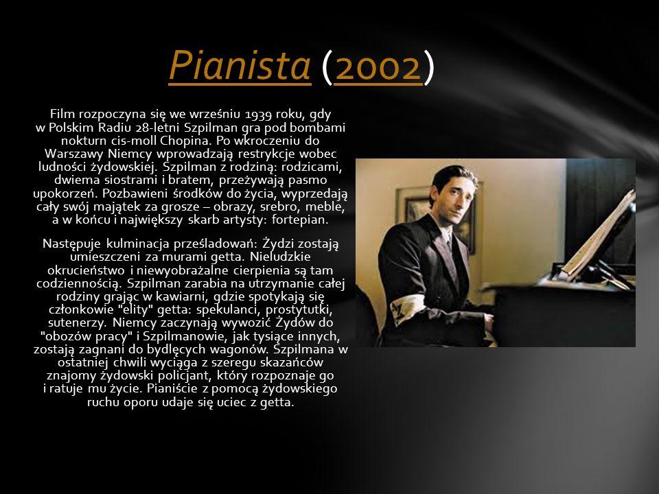 Film rozpoczyna się we wrześniu 1939 roku, gdy w Polskim Radiu 28-letni Szpilman gra pod bombami nokturn cis-moll Chopina. Po wkroczeniu do Warszawy N