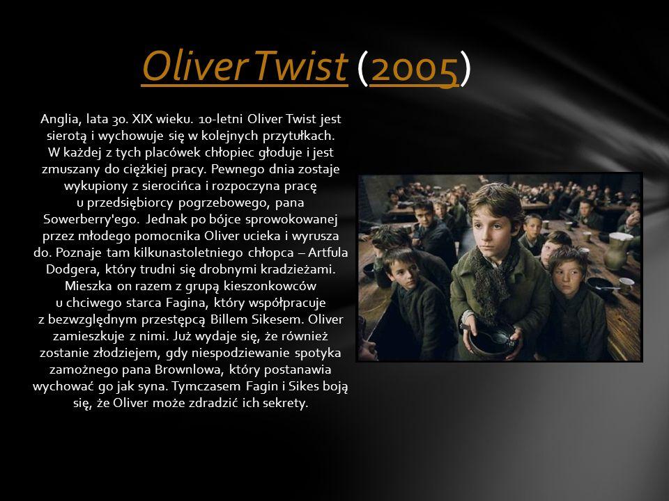 Anglia, lata 30. XIX wieku. 10-letni Oliver Twist jest sierotą i wychowuje się w kolejnych przytułkach. W każdej z tych placówek chłopiec głoduje i je