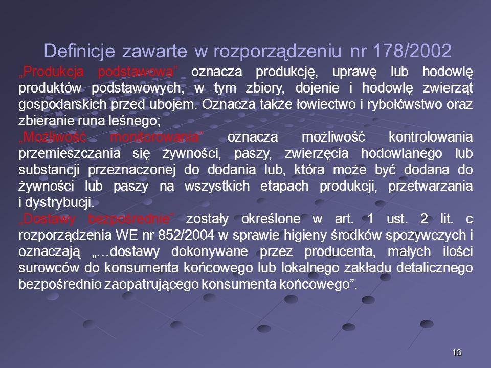13 Definicje zawarte w rozporządzeniu nr 178/2002 Produkcja podstawowa oznacza produkcję, uprawę lub hodowlę produktów podstawowych, w tym zbiory, doj