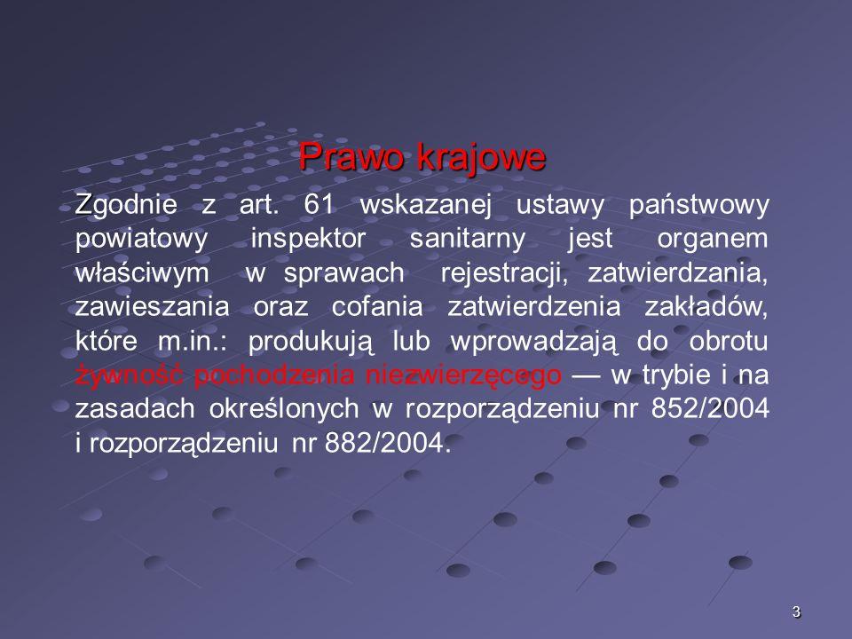 3 Prawo krajowe Z Zgodnie z art. 61 wskazanej ustawy państwowy powiatowy inspektor sanitarny jest organem właściwym w sprawach rejestracji, zatwierdza