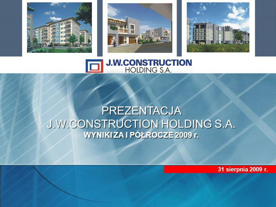 PREZENTACJA J.W.CONSTRUCTION HOLDING S.A.WYNIKI ZA I PÓŁROCZE 2009 r.