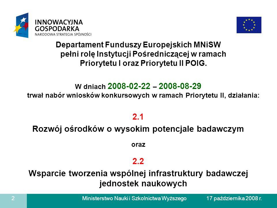 Ministerstwo Nauki i Szkolnictwa Wyższego Departament Funduszy Europejskich MNiSW pełni rolę Instytucji Pośredniczącej w ramach Priorytetu I oraz Prio