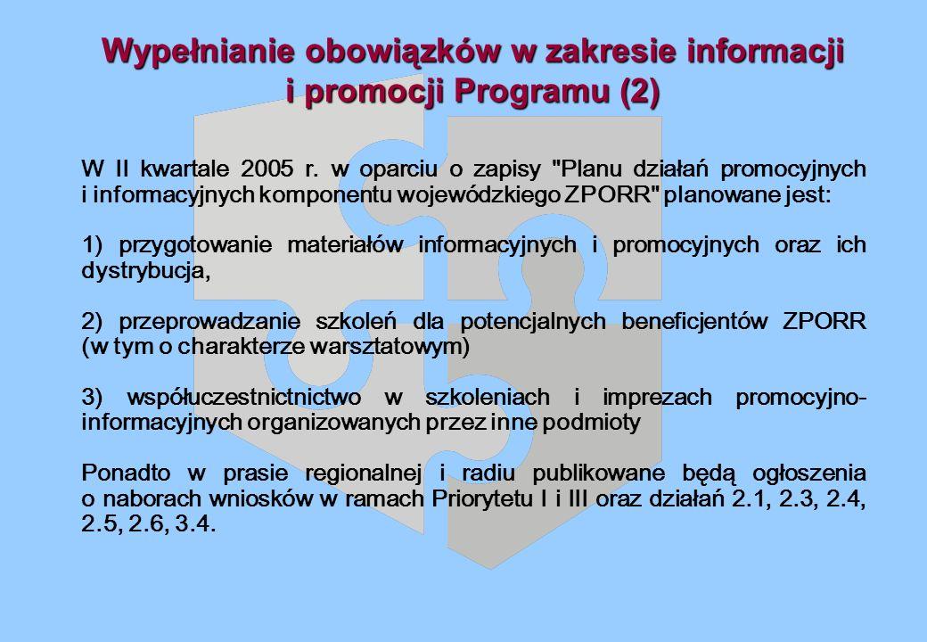 Wypełnianie obowiązków w zakresie informacji i promocji Programu (2) W II kwartale 2005 r.