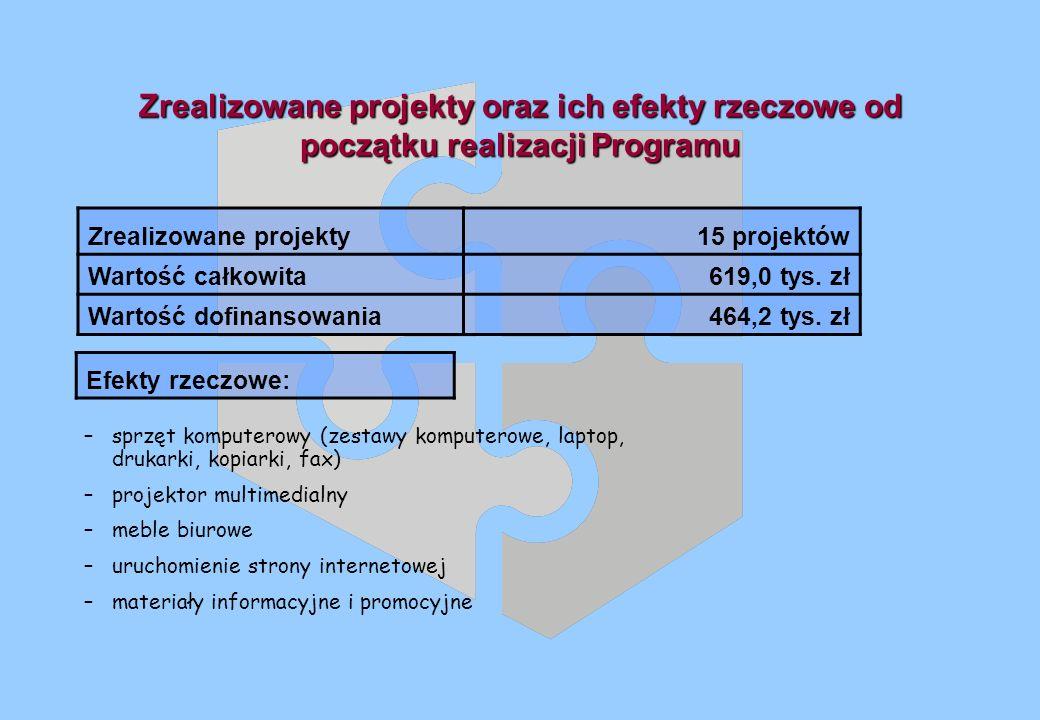 Zrealizowane projekty oraz ich efekty rzeczowe od początku realizacji Programu Zrealizowane projekty15 projektów Wartość całkowita619,0 tys.