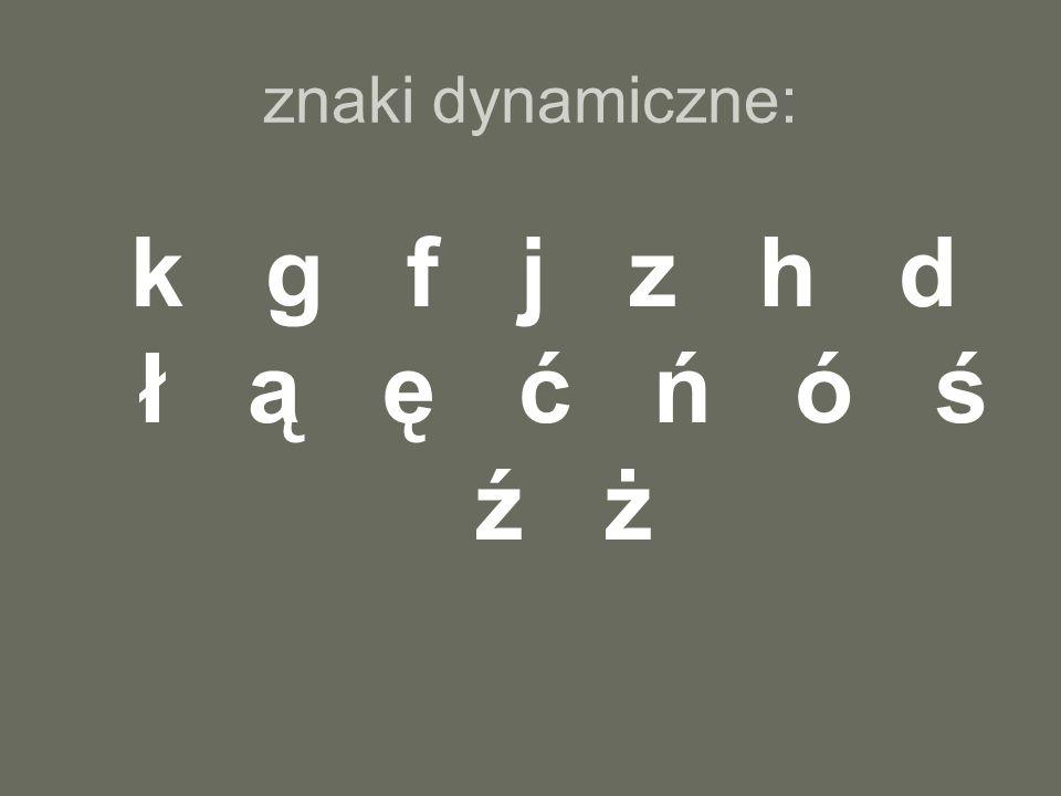 k g f j z h d ł ą ę ć ń ó ś ź ż znaki dynamiczne: