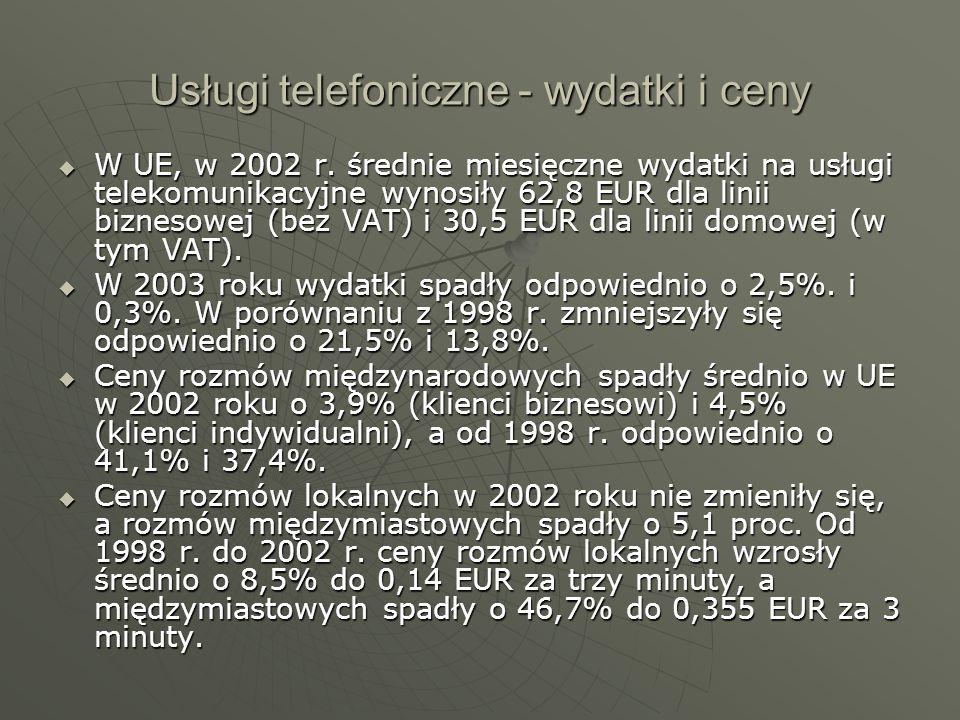 Usługi telefoniczne - wydatki i ceny W UE, w 2002 r. średnie miesięczne wydatki na usługi telekomunikacyjne wynosiły 62,8 EUR dla linii biznesowej (be