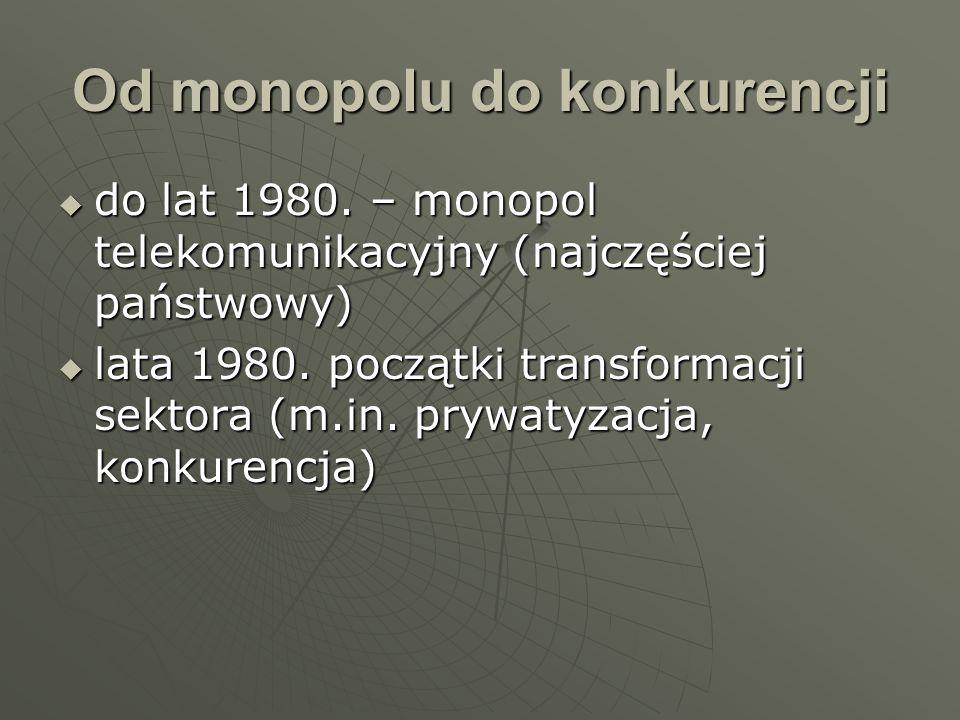 Od monopolu do konkurencji do lat 1980. – monopol telekomunikacyjny (najczęściej państwowy) do lat 1980. – monopol telekomunikacyjny (najczęściej pańs