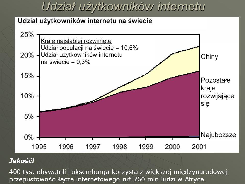 Udział użytkowników internetu Jakość! 400 tys. obywateli Luksemburga korzysta z większej międzynarodowej przepustowości łącza internetowego niż 760 ml