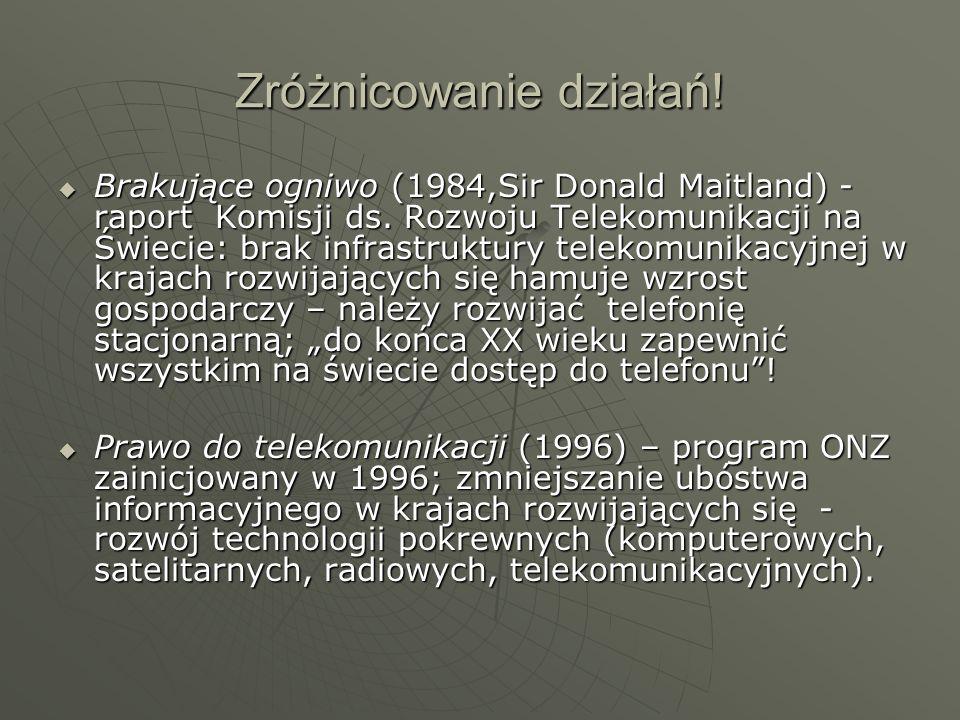 Zróżnicowanie działań! Brakujące ogniwo (1984,Sir Donald Maitland) - raport Komisji ds. Rozwoju Telekomunikacji na Świecie: brak infrastruktury teleko