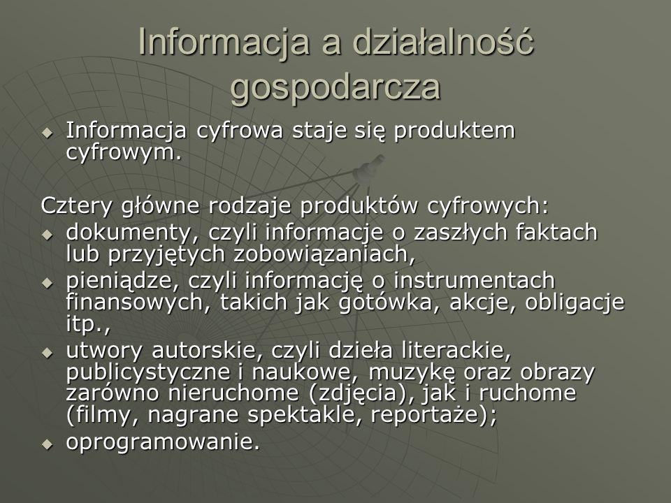 Informacja a działalność gospodarcza Informacja cyfrowa staje się produktem cyfrowym. Informacja cyfrowa staje się produktem cyfrowym. Cztery główne r