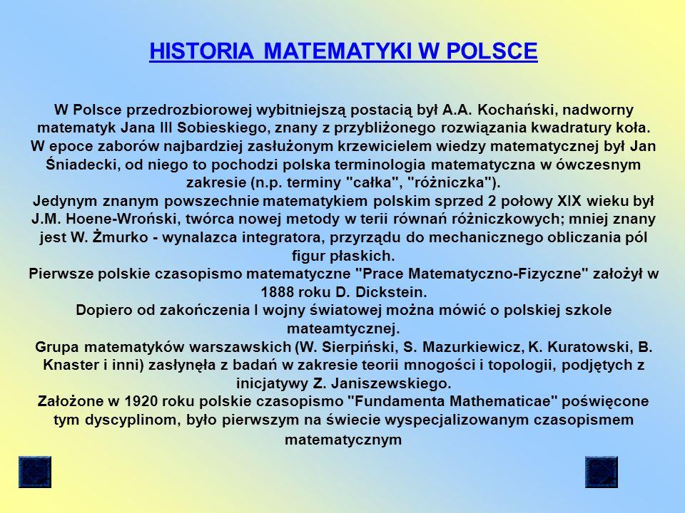 Historia matematyki w Polsce Główne działy matematyki Przypomnienie o liczbach Twierdzenie Pitagorasa Trójkąty Kąty Pola i obwody figur płaskich Liczba pi Ciekawostki matematyczne Zadania Warto przypomnieć