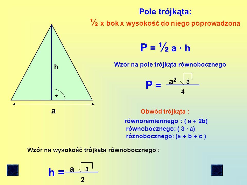 a b Pole prostokąta : długość x szerokość P= a b Obw.