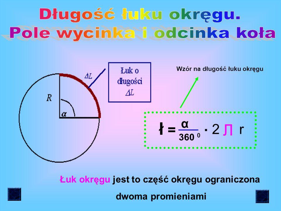l = Л d l = 2 r Л l - długość okręgu d - średnica okręgu r - promień okręgu Wzór na długość okręgu r d = 2r