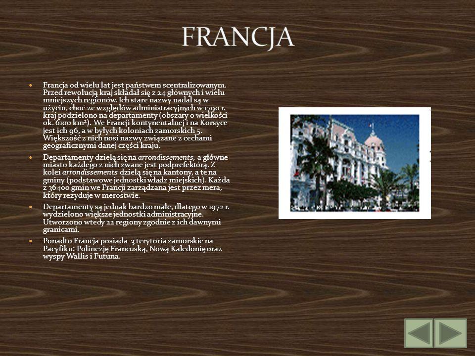 Francja od wielu lat jest państwem scentralizowanym. Przed rewolucją kraj składał się z 24 głównych i wielu mniejszych regionów. Ich stare nazwy nadal