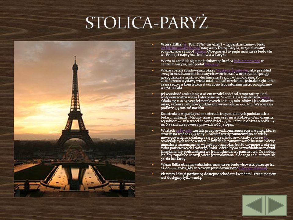 Wieża Eiffla (fr. Tour Eiffel [tur effel]) – najbardziej znany obiekt architektoniczny Paryża, nazywany Damą Paryża, rozpoznawany również jako symbol