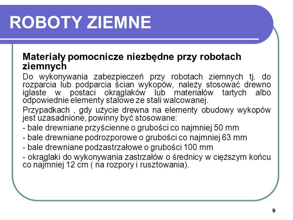 9 ROBOTY ZIEMNE Materiały pomocnicze niezbędne przy robotach ziemnych Do wykonywania zabezpieczeń przy robotach ziemnych tj. do rozparcia lub podparci
