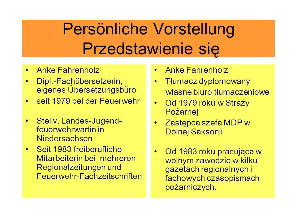 Persönliche Vorstellung Przedstawienie się Anke Fahrenholz Dipl.-Fachübersetzerin, eigenes Übersetzungsbüro seit 1979 bei der Feuerwehr Stellv. Landes