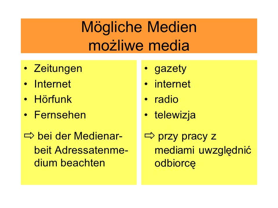 Mögliche Medien możliwe media Zeitungen Internet Hörfunk Fernsehen bei der Medienar- beit Adressatenme- dium beachten gazety internet radio telewizja przy pracy z mediami uwzględnić odbiorcę