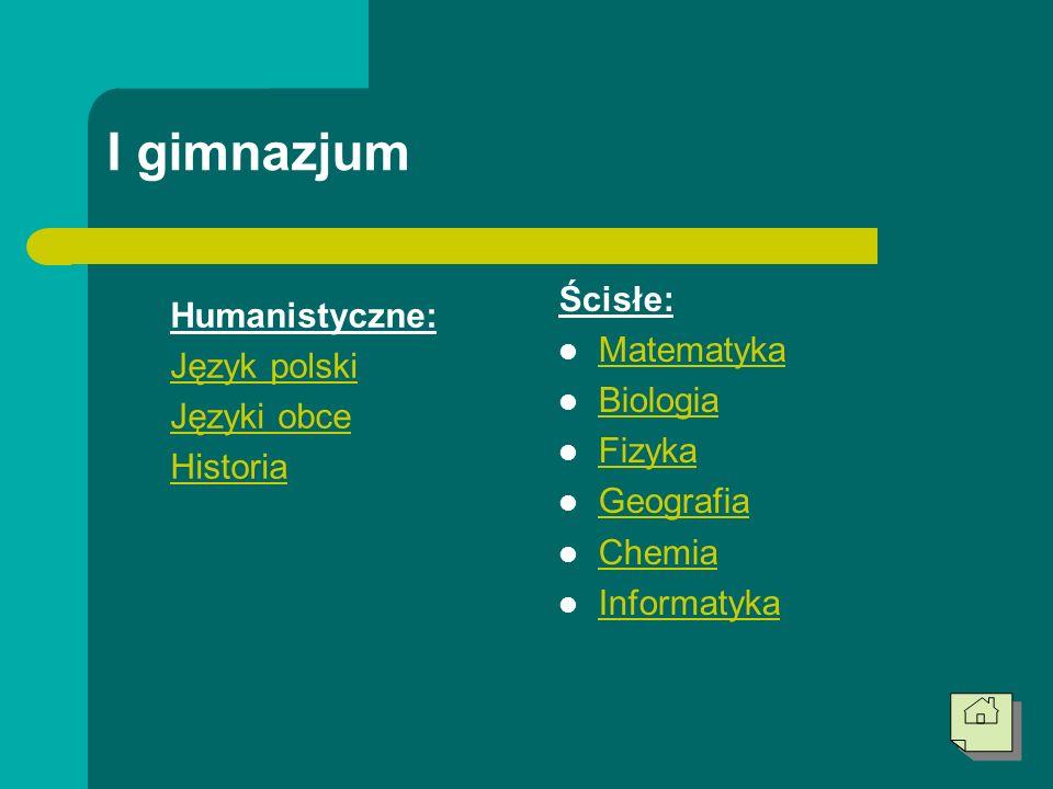 I gimnazjum Humanistyczne: Język polski Języki obce Historia Ścisłe: Matematyka Biologia Fizyka Geografia Chemia Informatyka