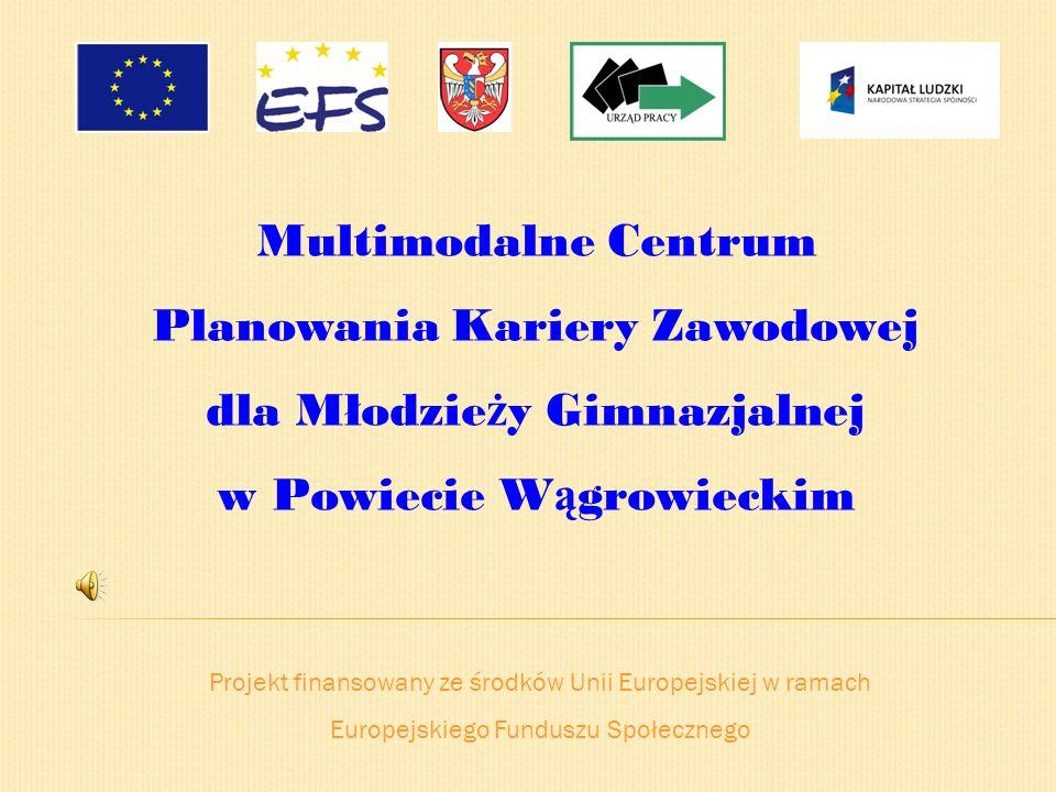 Projekt finansowany ze środków Unii Europejskiej w ramach Europejskiego Funduszu Społecznego Multimodalne Centrum Planowania Kariery Zawodowej dla Mło