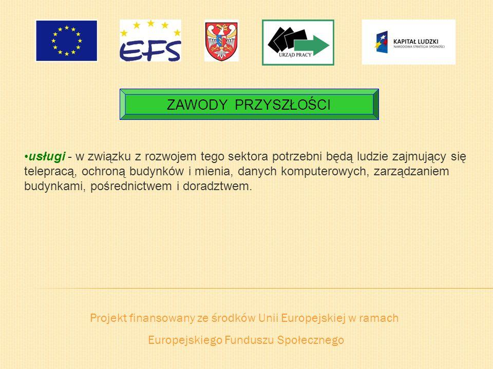 Projekt finansowany ze środków Unii Europejskiej w ramach Europejskiego Funduszu Społecznego ZAWODY PRZYSZŁOŚCI usługi - w związku z rozwojem tego sek